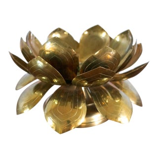 60s Brass Lotus Flower Candle Holder