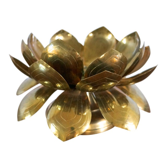 60s Brass Lotus Flower Candle Holder Chairish