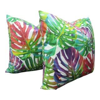 Contemporary Monstera Leaf Norbar Fabric Custom Pillows - a Pair For Sale