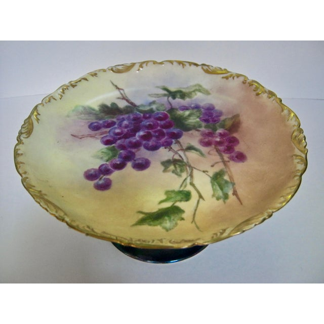Stunning antique Limoges Depose old world hand painted Iridescent pedestal base compote adorned with luscious grapes w...