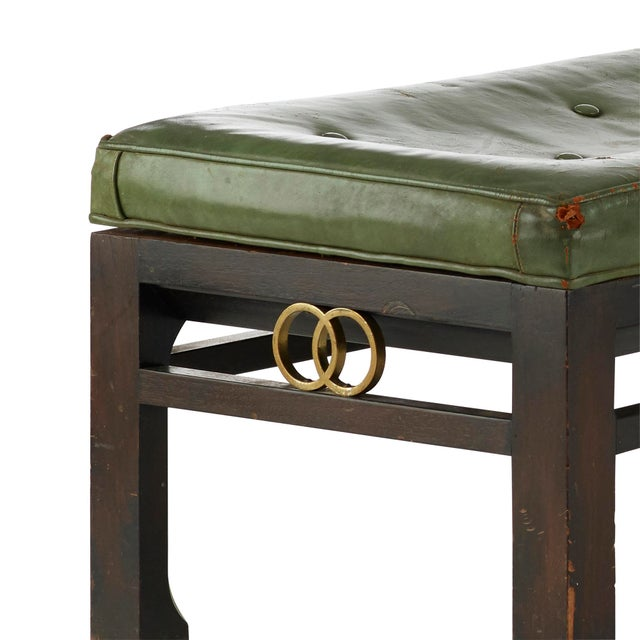 Mid-Century Modern Vintage Michael Taylor for Baker Furniture Green Leather Bench For Sale - Image 3 of 7