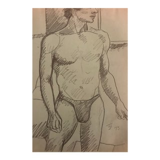1970s Vintage Male Nude Preparing to Pose in Life Class by James Bon For Sale