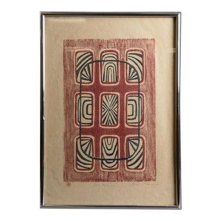 1970s Vintage Mid-Century Modern Geometric Wood Block Print For Sale
