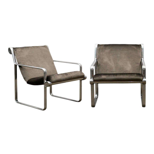Rare Pair of Aluminum Lounge/Club Chairs by Hannah/Morrison for Knoll For Sale