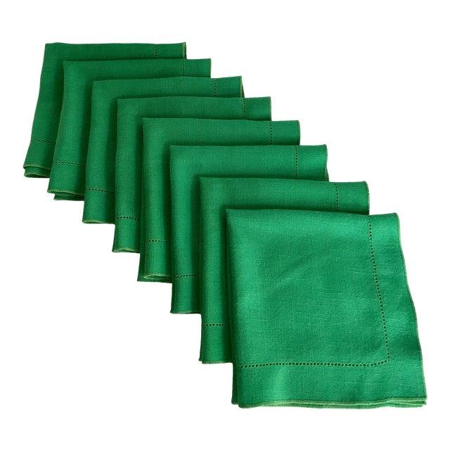 Set of 8 Vintage Linen Kelly Green Napkins For Sale
