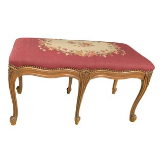 1930s Vintage French Style Needlepoint Bench For Sale