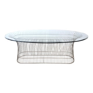 Midcentury Warren Platner Style Chrome Dining Conference Table For Sale