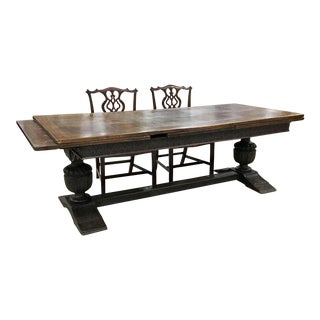 12 Foot 19th Century Jacobean Style Dining Table For Sale