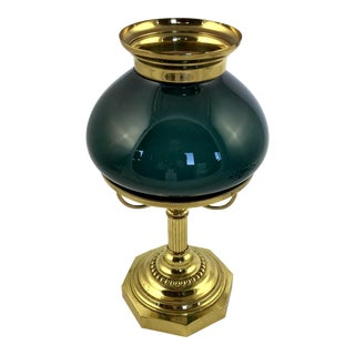 1940s Brass & Glass Piano or Parlor Lamp For Sale
