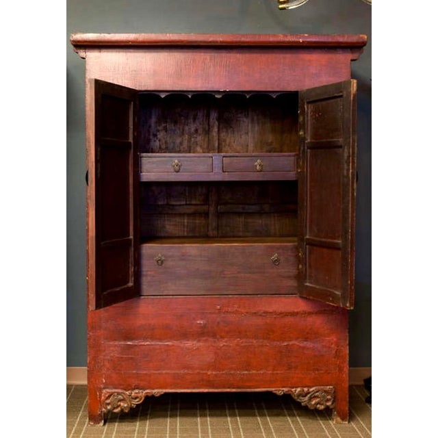 Tall Chinese Red Lacquer Two Drawer Cabinet For Sale - Image 4 of 6