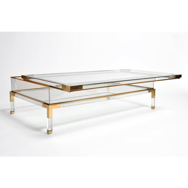 Vintage 1970s Sliding Glass Top Coffee Table Attributed to Maison Jansen For Sale In Chicago - Image 6 of 13