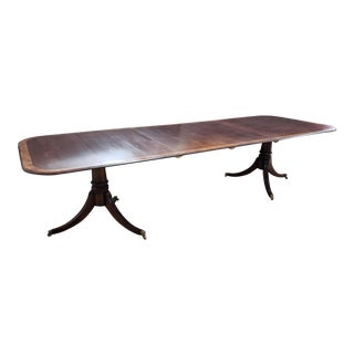"""Cherry Yew Banded Double Pedestal Dining Table W/ 2-21"""" Leaves For Sale"""