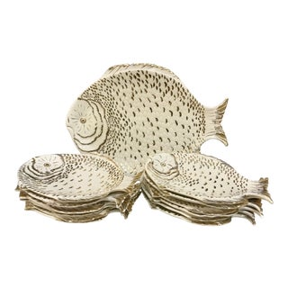 Italian Made Ceramic Fish Plates - Set of 13 For Sale