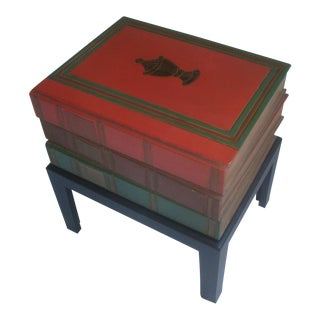 Trompe l'Oeil Table Stack of Books on Stand For Sale