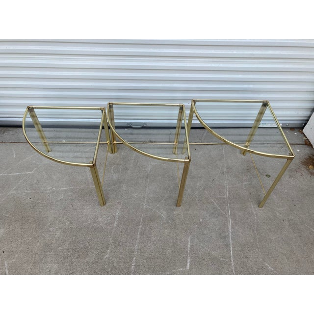 Mid Century Milo Baughman Glass Top Corner Nesting Tables - 3 Pieces For Sale - Image 10 of 11