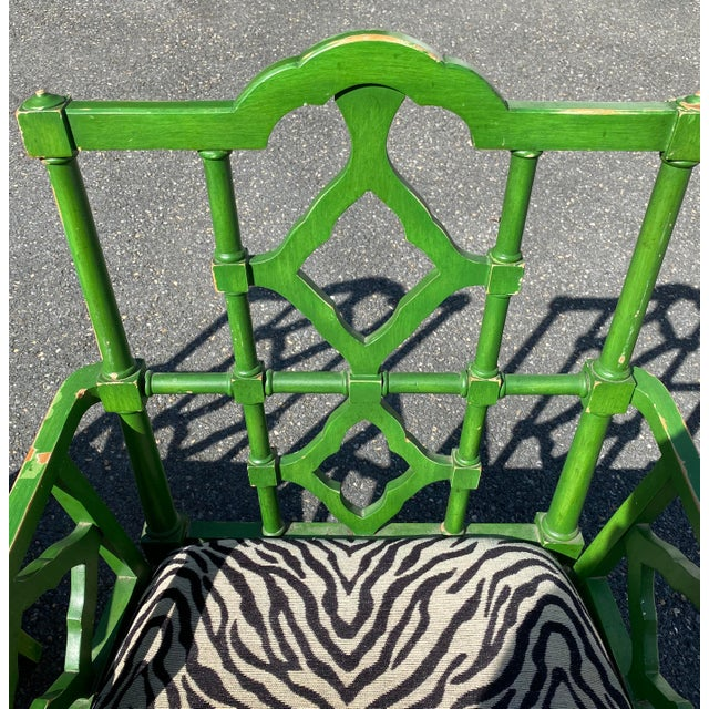 Vintage Hollywood Regency Green Pagoda Chairs with Zebra Fabric - a Pair For Sale In Miami - Image 6 of 13