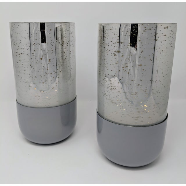 Mercury Glass Candle Holders - a Pair (2) For Sale - Image 9 of 11