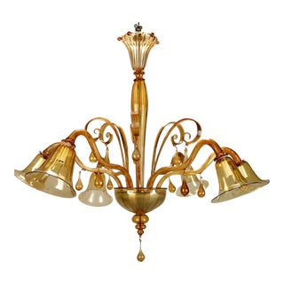 Large Venini Amber Murano Glass Six-Arm Chandelier For Sale