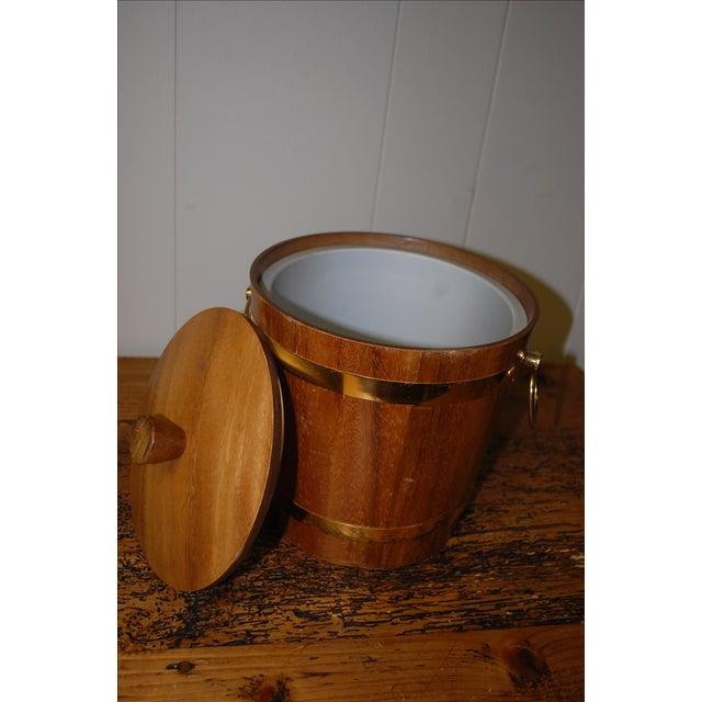 Vintage 1950s Aluminum Lined Teak Ice Bucket For Sale - Image 5 of 5
