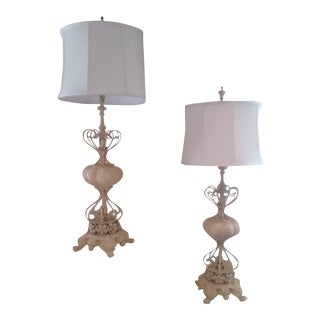 b6c973ea77ba Antique French Iron Shabby Chic Style Painted Cream Lamps - a Pair For Sale