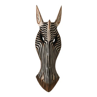 Large Vintage Wooden Hand Painted Zebra Mask For Sale