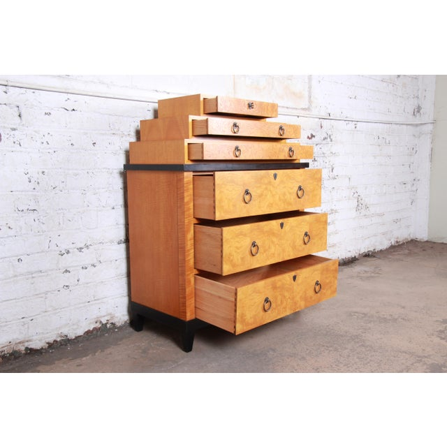 Gold Baker Furniture Biedermeier Burl Wood and Primavera Highboy Chest of Drawers For Sale - Image 8 of 13