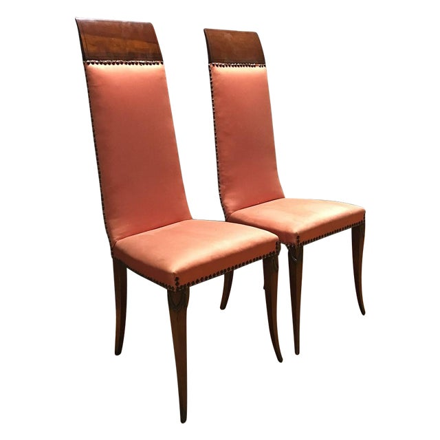 Antique Orange High Back Chairs - A Pair - Image 1 of 7