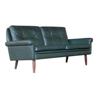 Sven Skipper Danish 1960's Two-Seat Sofa in Dark Racing Green Leather For Sale