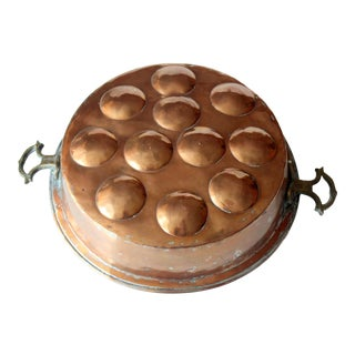 1930s Antique Fried Egg Copper/Pewter Baking Pan For Sale