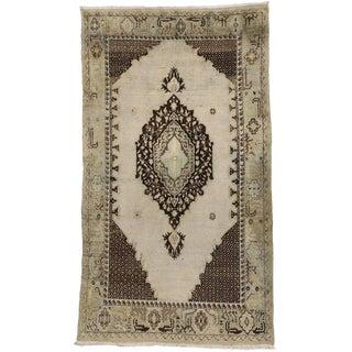 Vintage Turkish Oushak Rug with Medallion and Corner Design For Sale