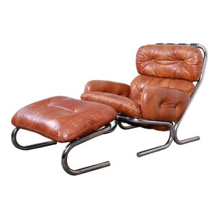 Milo Baughman for Directional Mid-Century Modern Lounge Chair and Ottoman, 1970s For Sale