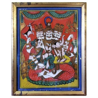 Reverse Glass Painting of Shiva, Parvati and Ganesh From the Pal Collection For Sale