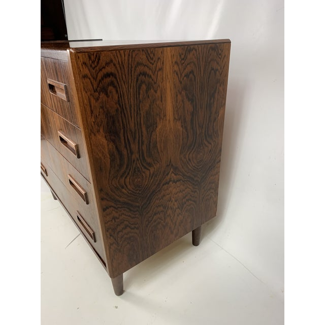 Wood 1960s Vintage Borge Seindal Four Drawer Rosewood Gentleman's Chest For Sale - Image 7 of 11
