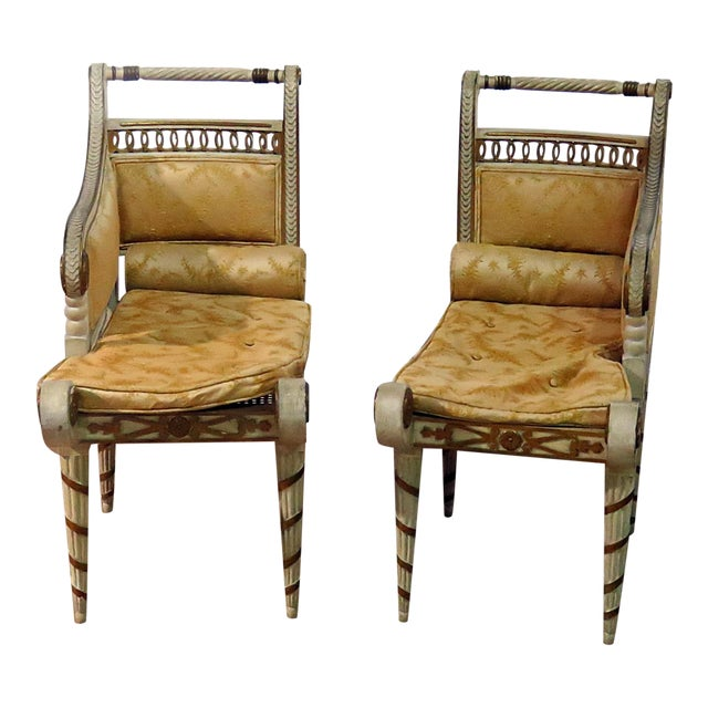 Regency Style Distressed Painted Recamiers - a Pair For Sale