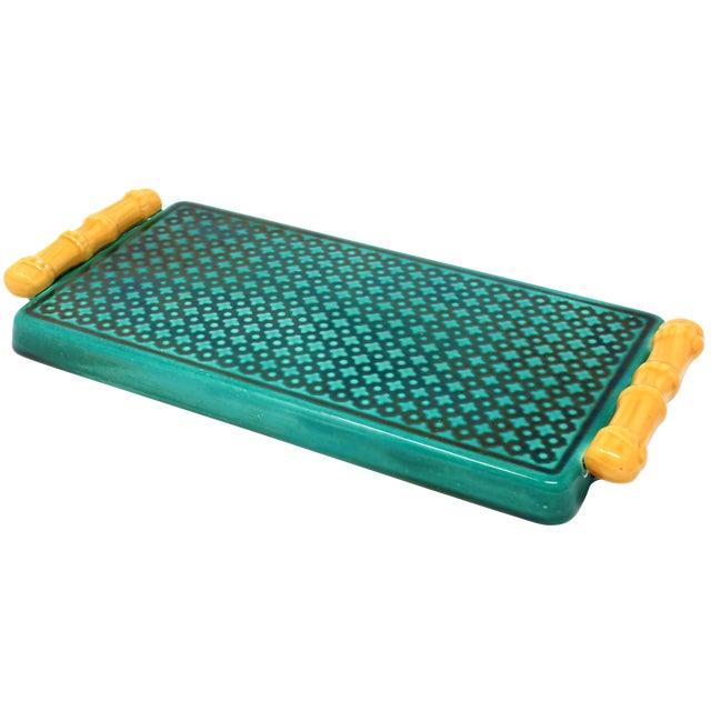Vintage Ceramic Green Tray With Faux Bamboo Handles For Sale