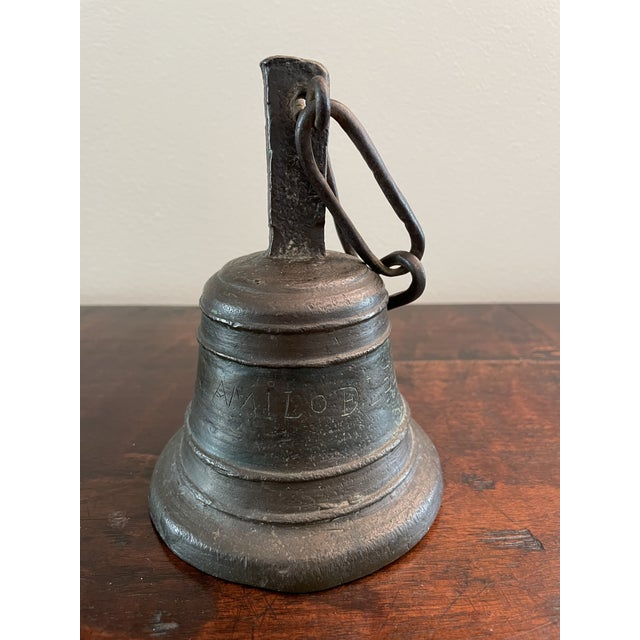 Italian 18th Century Italian San Camilo Cast Bronze & Hand Forged Ringing Bell W/ Chain For Sale - Image 3 of 13