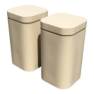 Late 20th Century Laminate Ivory Pedestals- a Pair For Sale