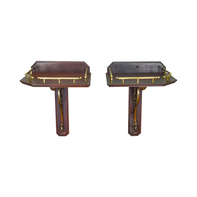 Victorian Antique Pair of Aesthetic Bronze and Mahogany Wall Bracket Shelves For Sale - Image 13 of 13