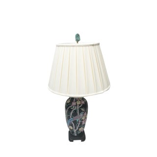 Black Floral Porcelain Lamp