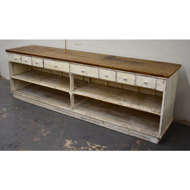 Country Massive Vintage Painted Pine and Oak Store Counter For Sale - Image 3 of 13