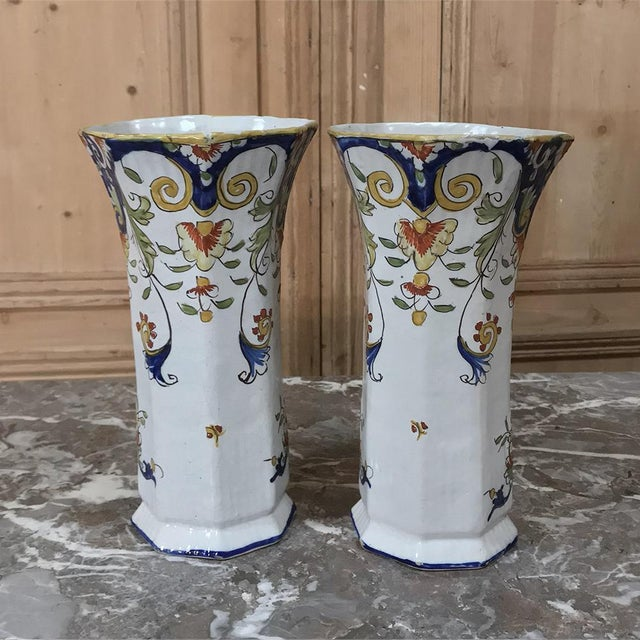 Pair 19th Century French Colorful Hand-Painted Faience Vases From Normandy For Sale - Image 9 of 12