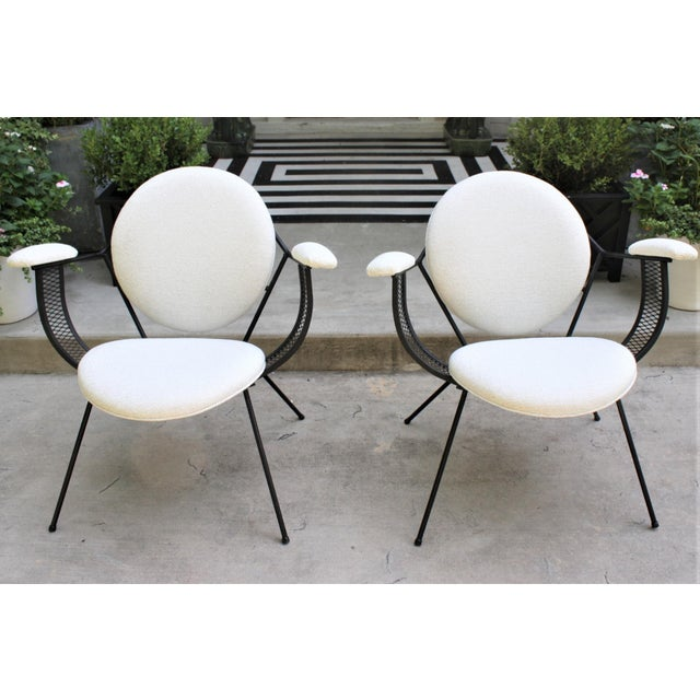 Mid-Century Modern Mathieu Matégot Style Perforated Iron and Bouclé Upholstered Armchairs For Sale - Image 12 of 13