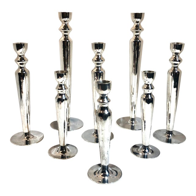 Vintage Silver Plated Candle Holders - Set of 8 For Sale