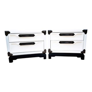 1980's Asian Inspired Campaign Style Nightstands - a Pair For Sale