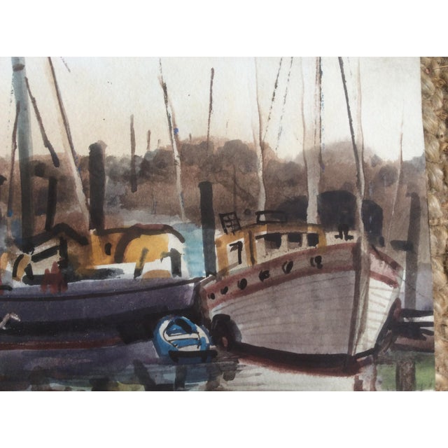 Blue Fishing Boats Watercolor For Sale - Image 8 of 11