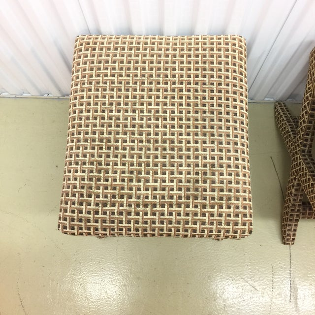 Upholstered X Ottoman Benches - A Pair - Image 6 of 7