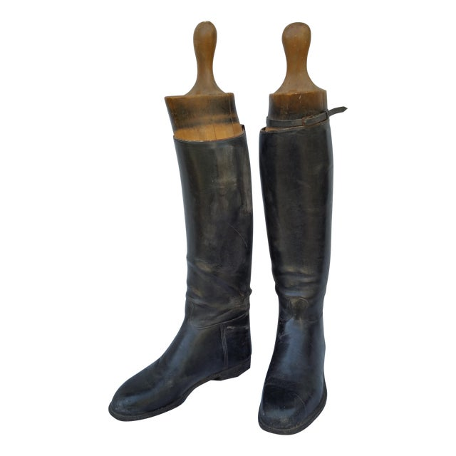 Edwardian English Riding Boots and Lasts - Image 1 of 4