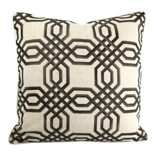 """Brown Embroidered Geometric Design on Linen and Self-Welt Pillow Cover - 20"""" X 20"""" For Sale"""