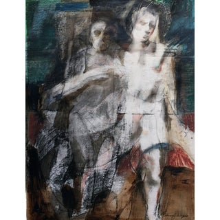 Francis J. Meyers Abstract Two Figures Watercolor Painting For Sale