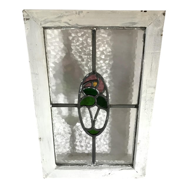 Vintage Mid Century Stained Glass Window For Sale
